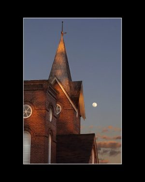 Church and moon